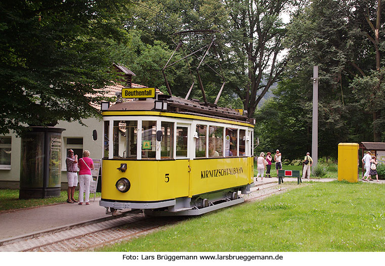 Der Traditionswagen 5 der Kirnitzschtalbahn in Bad Schandau